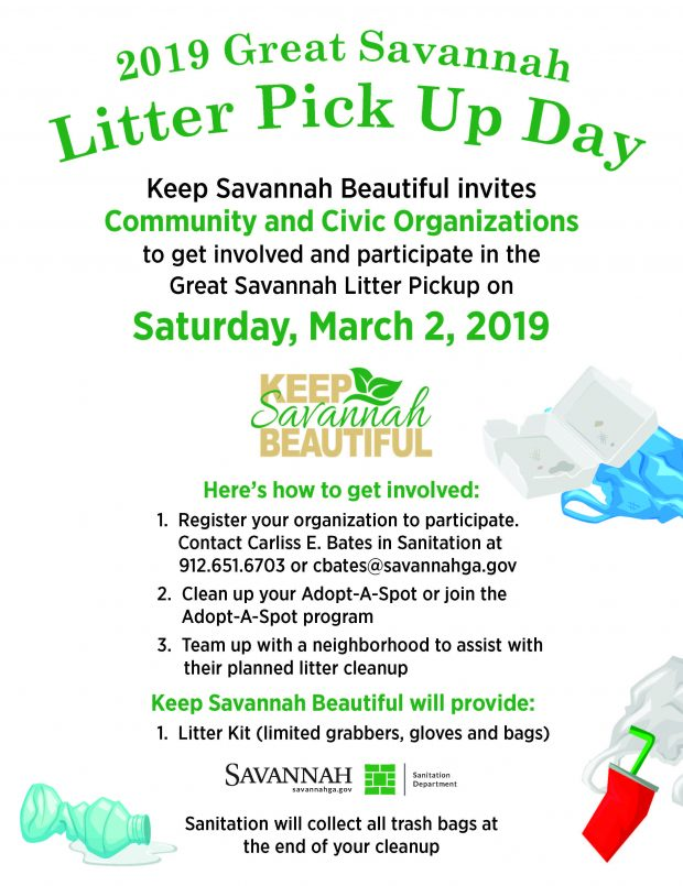 Great Savannah Litter Pick Up Day @ Throughout Savannah, GA